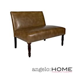 angelo:HOME Bradstreet Milk Chocolate Brown Renu Leather Armless Settee