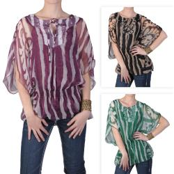 Journee Collection Blusa De Mujer De Chif N Con Cintura Fruncida