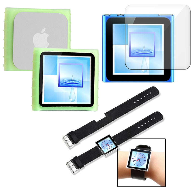 Green Case/ LCD Protector/ Wristband for Apple iPod Nano Generation 6