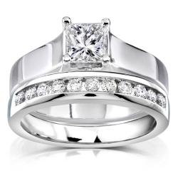 14k White Gold 7/8ct TDW Diamond Bridal Ring Set