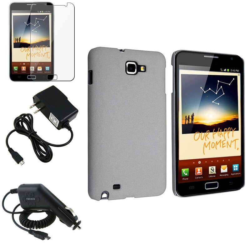 Grey Case/ Screen Protector/ Chargers for Samsung Galaxy Note N7000