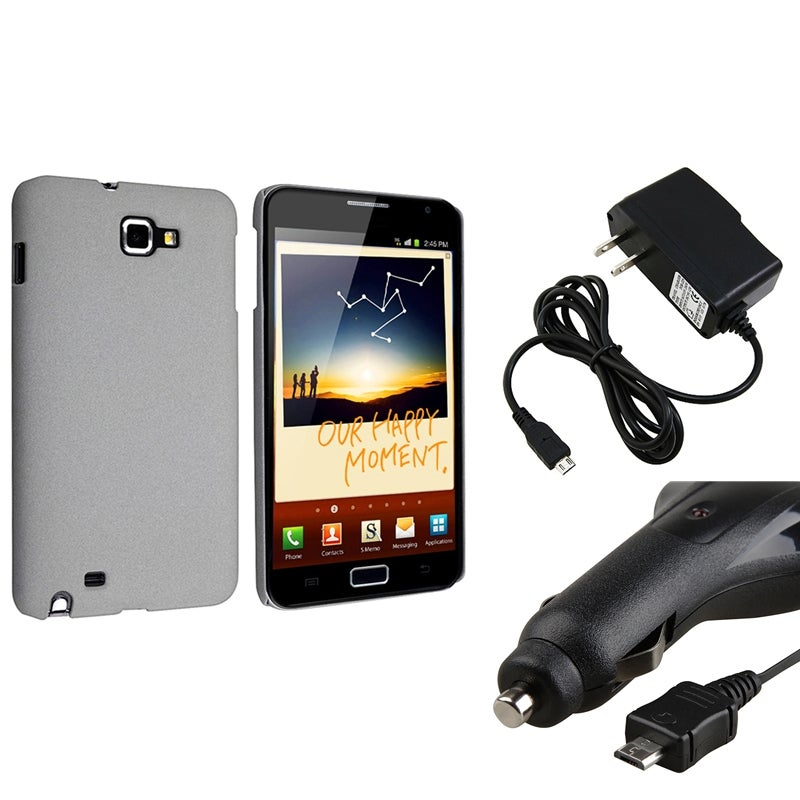 Grey Matte Case/ Car and Travel Charger for Samsung Galaxy Note N7000
