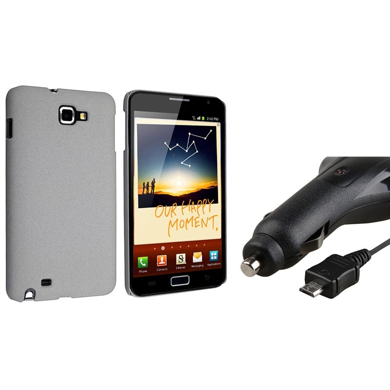 Grey Matte Snap-on Case/ Car Charger for Samsung Galaxy Note N7000