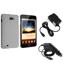 Grey Case/ Car and Travel Charger for Samsung Galaxy Note N7000