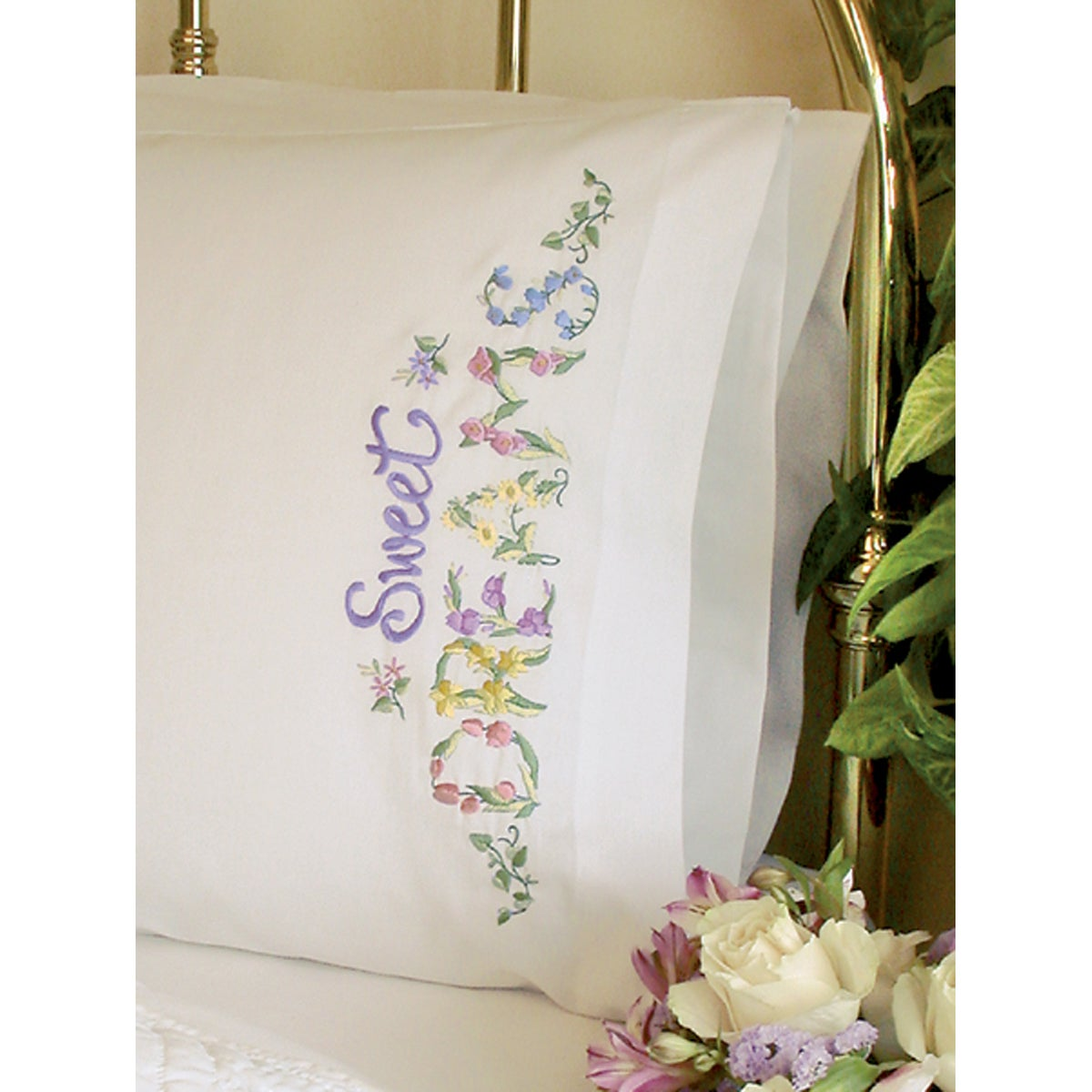 """Sweet Dreams Pillowcase Pair Stamped Cross Stitch-20""""X30"""""""