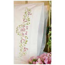 Elegant Monogram Pillowcase Pair Stamped Embroidery-20