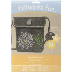 "Feltworks Fun Purse Kit 4-1/2""X6""-Mum"