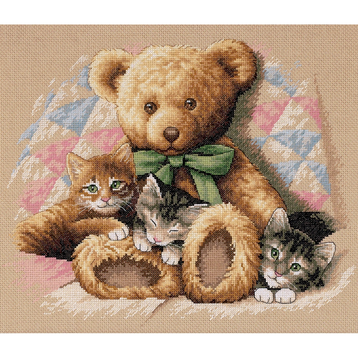 "Dimensions Teddy & Kittens Counted Cross Stitch Kit-14""X12"" at Sears.com"