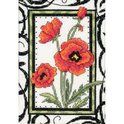 "Blooming Poppies Mini Counted Cross Stitch Kit-5""X7"""