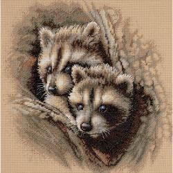 "Two Raccoon Cubs Counted Cross Stitch Kit-11""X11"""