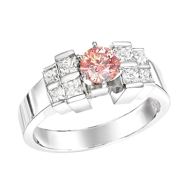 14k White Gold 1-1/5ct TDW Pink Round and Princess Diamond Ring (Size 5.5)