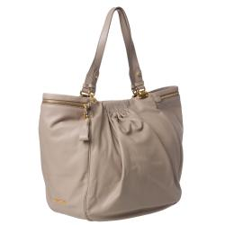 Miu Miu Taupe Leather Pleated Tote