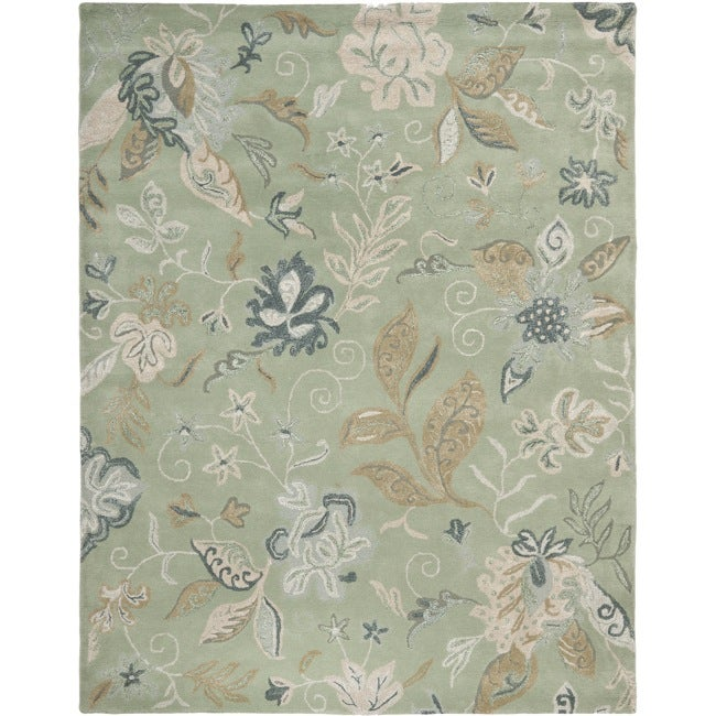 Safavieh Handmade Botanical Gardens Light Green Wool Rug (8' x 10')