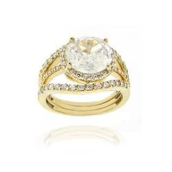 Icz Stonez 18k Yellow Gold Over Silver Cubic Zirconia Ring Set (6 3/5ct TGW)