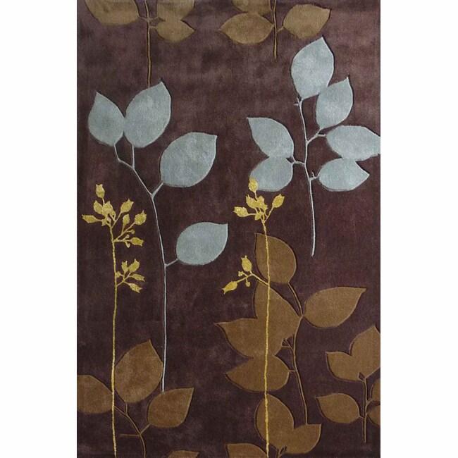nuLOOM Handmade Pino Brown Floral Rug (7'6 x 9'6)
