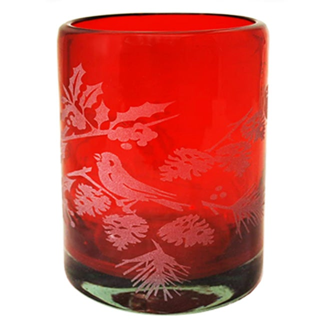 Recycled Glass 'Birds in Holly' Votives (Mexico)