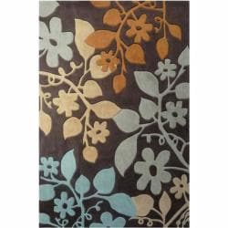 nuLOOM Handmade Pino Brown Bold Floral Rug (7'6 x 9'6)