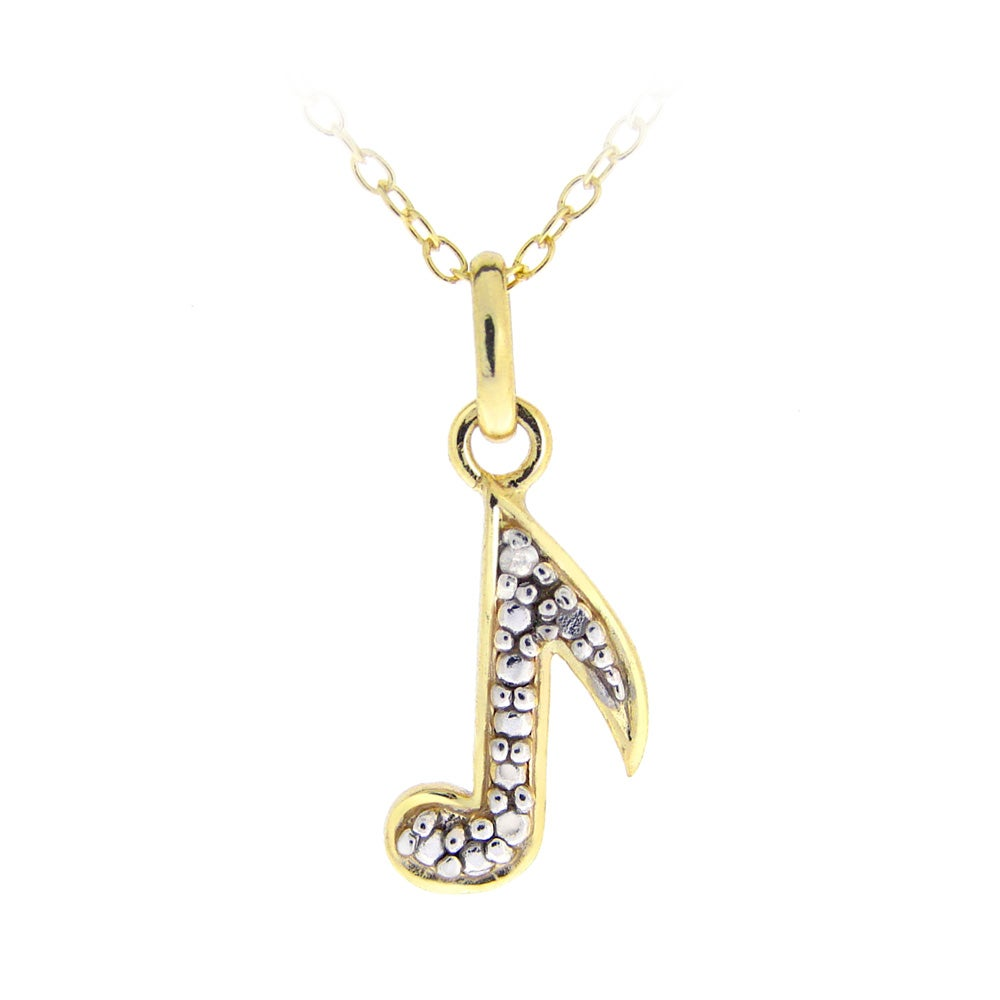 DB Designs 18k Yellow Gold Over Silver Diamond Accent Musical Note Necklace