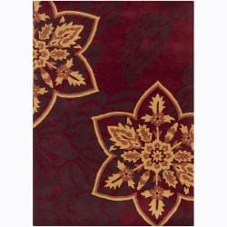Mandara Hand-tufted Red Floral Wool Rug (9' x 13')