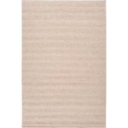 Hand-crafted Solid Beige Caparo Street Wool Rug (9' x 13')