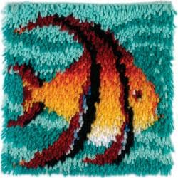 "Wonderart Latch Hook Kit 12""X12""-Angel Fish"