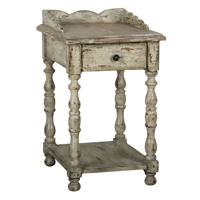 Distressed vintage cream accent table overstock for Antique cream coffee table