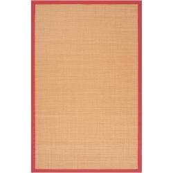 Traditional Woven Red Hillsborough West Natural Fiber Sisal Rug (8' x 10')