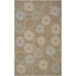 Hand-hooked 'Yarra' Grey Indoor/Outdoor Floral Rug (3' x 5')