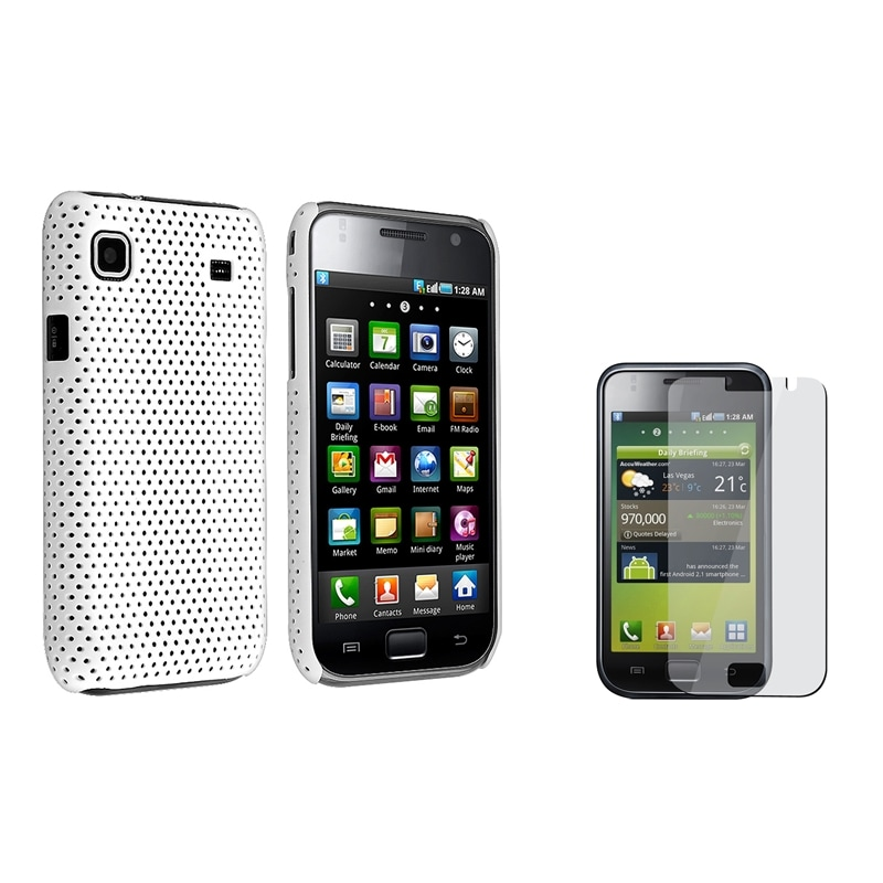 White Rubber Coated Case/ LCD Protector for Samsung i9000 Galaxy S