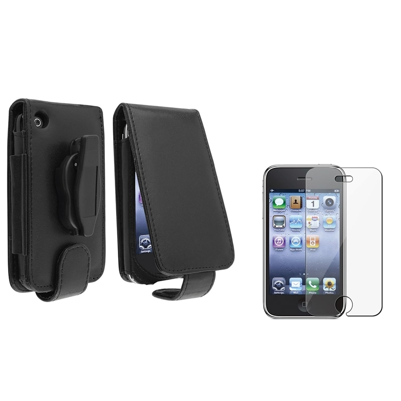 Black Leather Case/ Screen Protector for Apple iPhone 3G/ 3GS