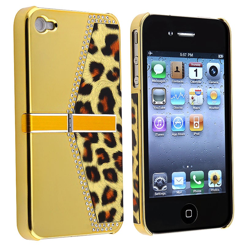 Chrome Golden Leopard Snap-on Case with Stand for Apple iPhone 4/ 4S