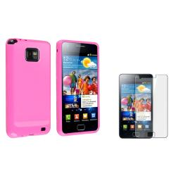 Pink TPU Case/ Screen Protector for Samsung Galaxy S II i9100