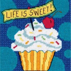 "Life Is Sweet Mini Needlepoint Kit-5""X5"" Stitched In Floss"