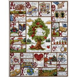 "Families ABC Sampler Counted Cross Stitch Kit-16""X20"" 14 Count"