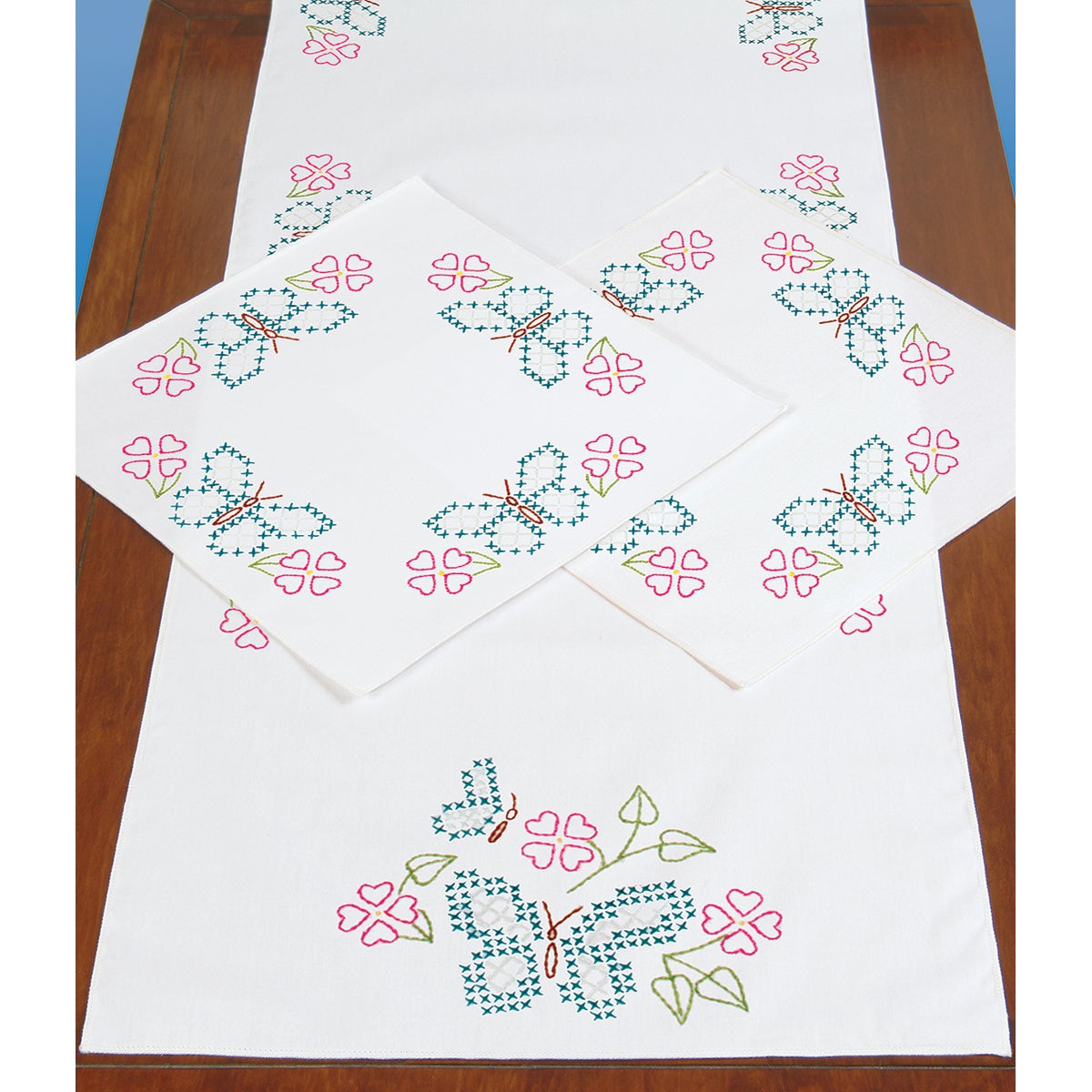 Stamped Dresser Scarf & Doilies Perle Edge 3/Pkg-Butterfly Circle