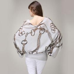 Tabeez Women's Oversized Studded Belt Print Sweater