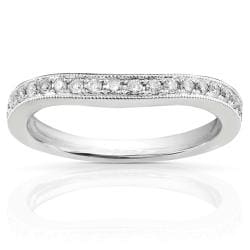 14k White Gold 1/5ct TDW Diamond Curved Wedding Band