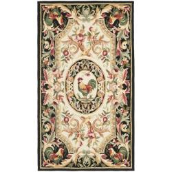 Hand-hooked Rooster Ivory/ Black Wool Rug (2'9 x 4'9)