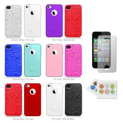 Apple iPhone 4/4S Silicone TPU Pair Case Plus Button Sticker/ Screen Protector
