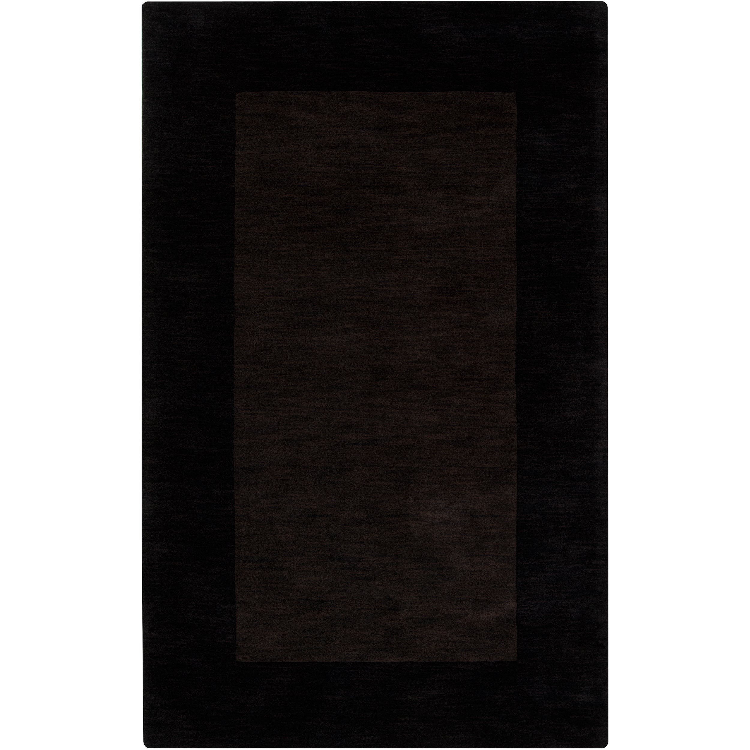 Hand-crafted Dark Brown Tone-On-Tone Bordered Mantra Wool Rug (7'6 x 9'6)