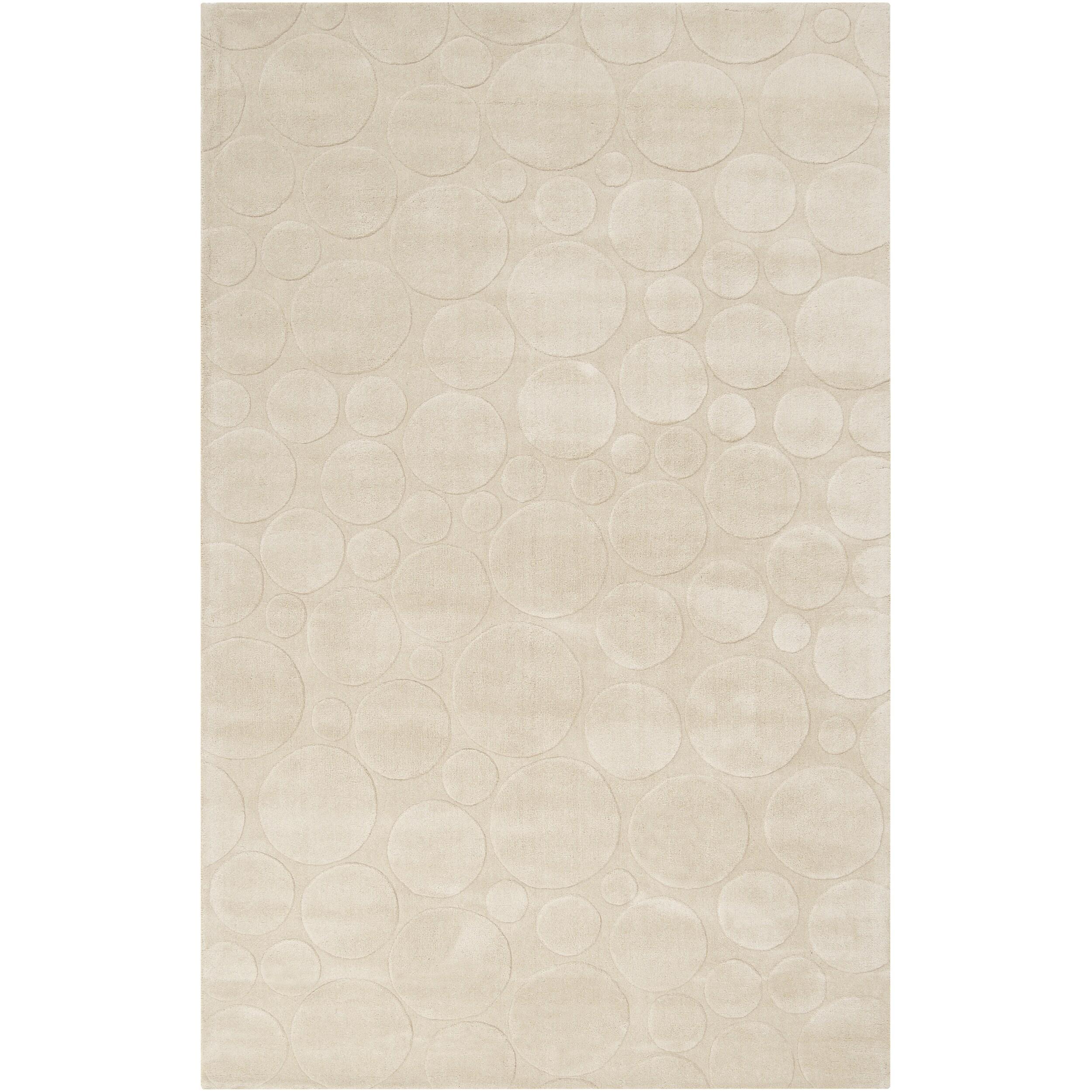 Candice Olson Loomed Cream Scuddle Geometric Circles Wool Rug (9' x 13')