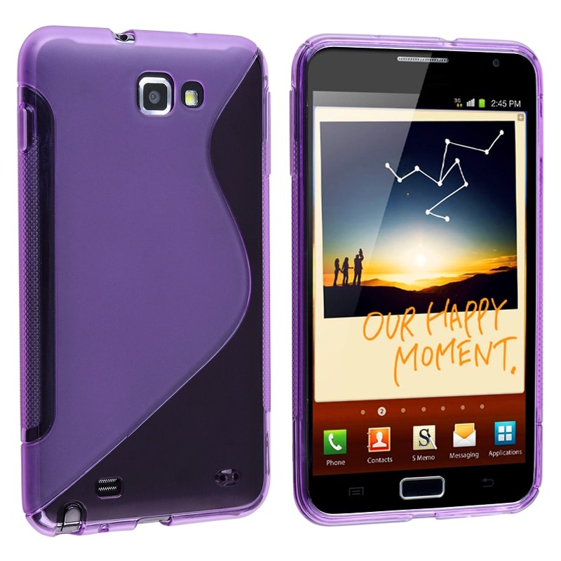 Frost Purple S Shape TPU Rubber Case for Samsung Galaxy Note N7000