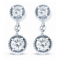 14k White Gold 3/4ct TDW Diamond Dangle Earrings (H-I, I1-I2)