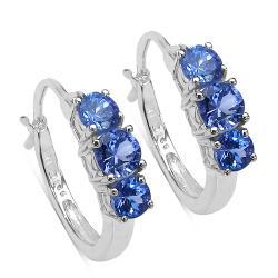 Malaika Sterling Silver Tanzanite Hoop Earrings