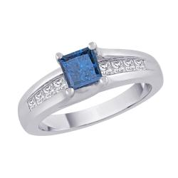14K White Gold 1 TDW Blue and White Diamond Ring (G-H, I2-I3)
