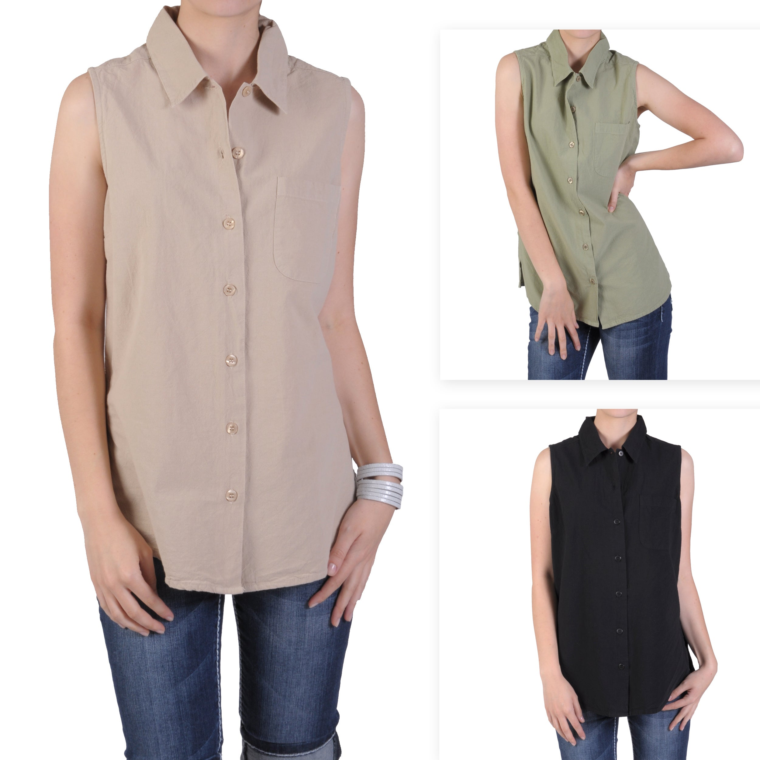Tressa Designs Women's Button-up Front Pocket Top