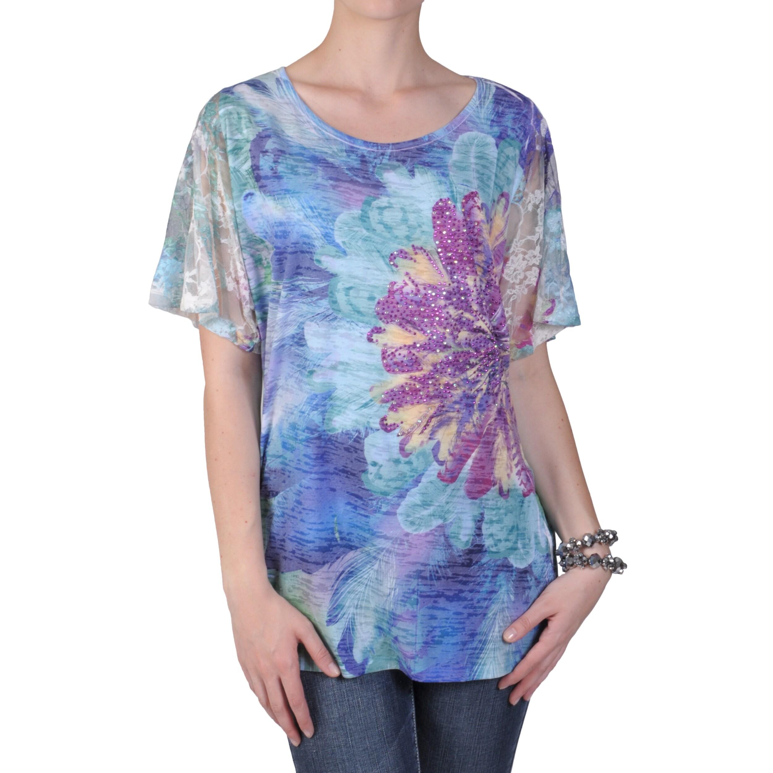 Tressa Designs Women's Lace Sublimation Print Tee