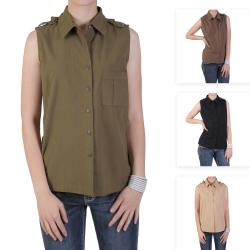 Tressa Designs Women's Button-up Pointed Collar Top