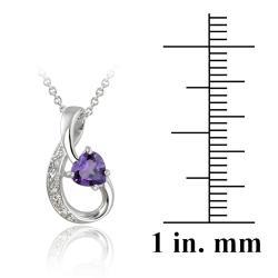 Glitzy Rocks 10k White Gold Diamond and Amethyst Ribbon Heart Necklace