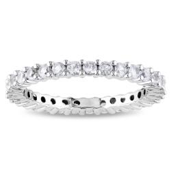 Miadora 10k White Gold 1-1/4ct TGW Created White Sapphire Eternity Ring (Size 7)